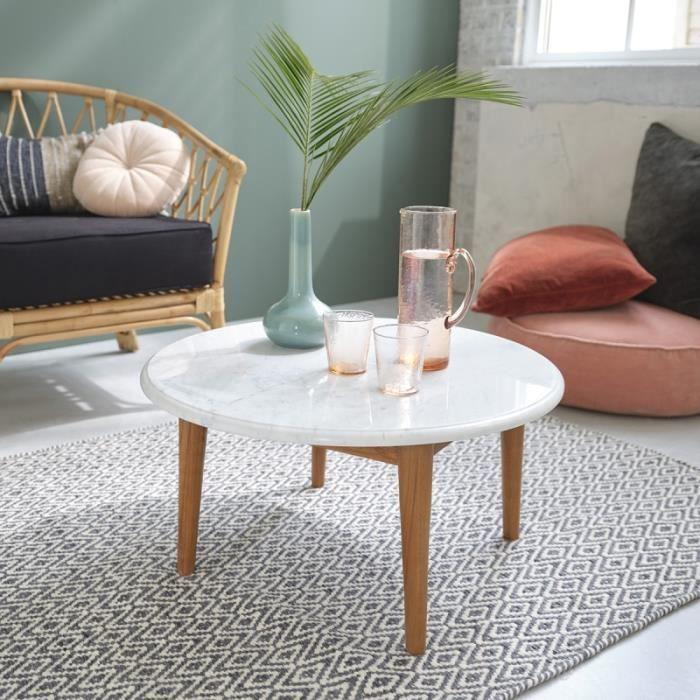 Table basse ronde en marbre et bois de teck 70 BDBD