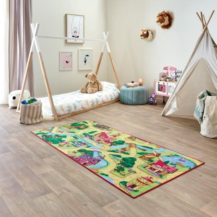 Tapis de Jeu Enfant 95x200cm, Candy Town - Tapis Circuit Voiture - Lavable - Antidérapant - Carpet Studio