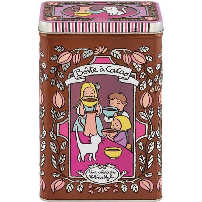 Boîte Embossée à Cacao MOUSTACHE en Métal Marron - Cuisine de Rangement Conservation Chocolat - Valérie Nylin DLP Derrière La Porte