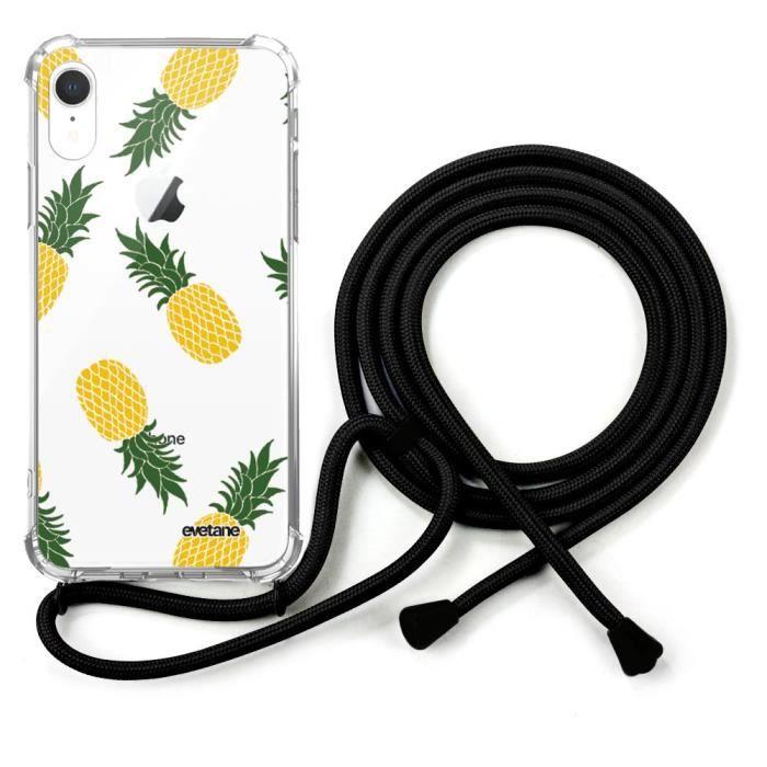 coque avec cordon noir iPhone Xr avec cordon Ananas Motifs Ecriture Tendance et Design Evetane