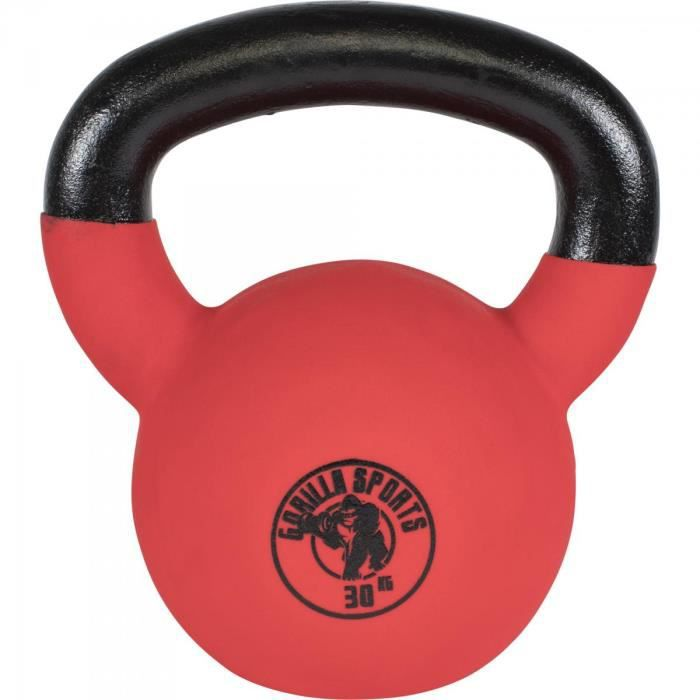 Gorilla Sports - poids Kettlebell fonte néoprène 2Kg à 32kg - 30 KG Noir