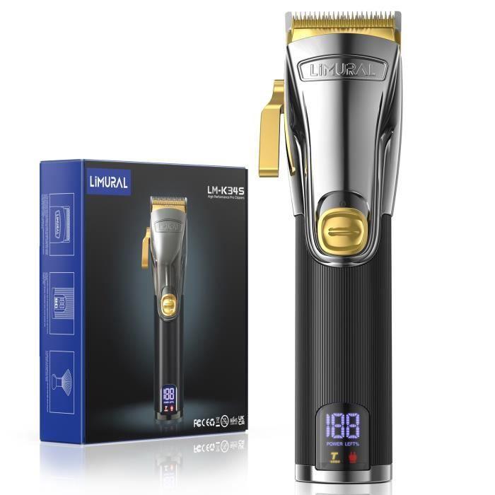 Tondeuse cheveux et barbe professionnelle Homme Electrique Sans Fil Rechargeable cadeau homme avec Ecran LCD et Brosse Plumeau