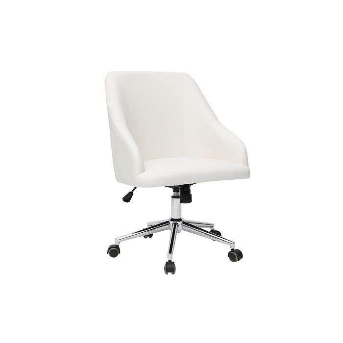Miliboo - Fauteuil de bureau design blanc SCARLETT