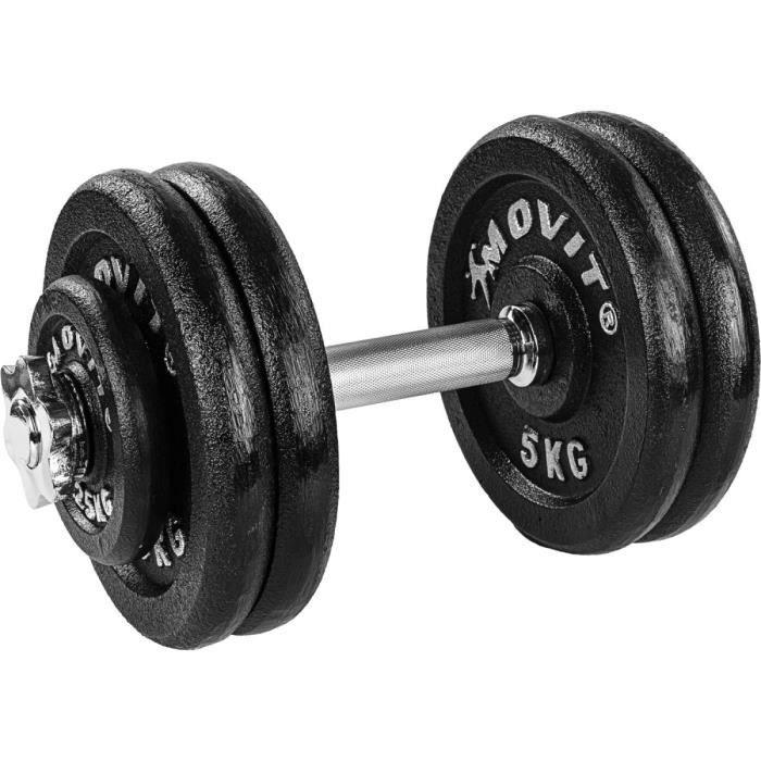 MOVIT 1 x Haltère court de 25 kg en fonte (poids 4x5kg et 2 x 1,25kg)