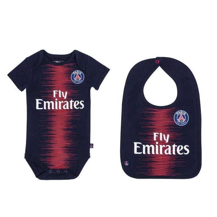 Body + bavoir bébé PSG - Maillot Fly Emirates - Collection officielle PARIS SAINT GERMAIN