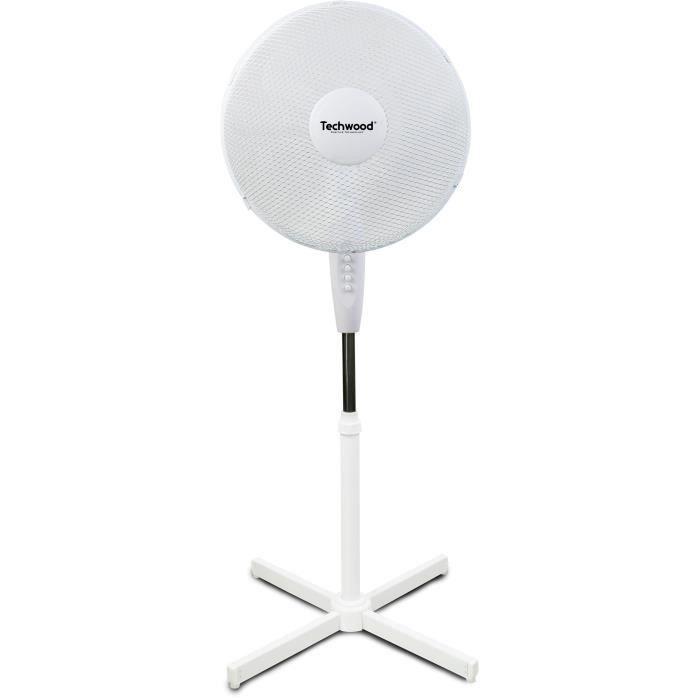 TECHWOOD 40 watts Ventilateur sur pied 40cm - 3 vitesses de ventilation - Réglage : - Hauteur - Oscillation - Orientation