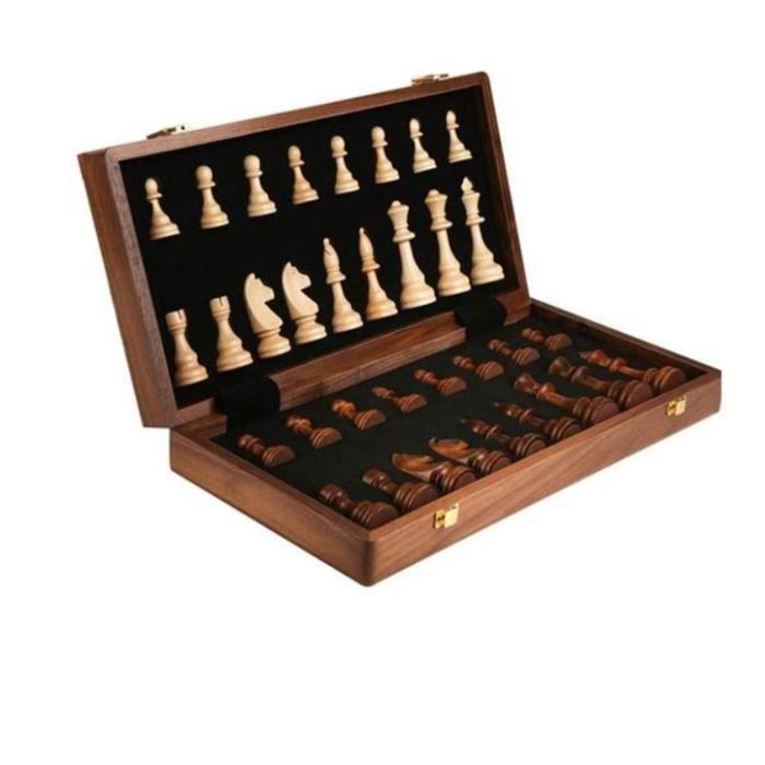Jeu d'échecs en bois pliable 39 cm