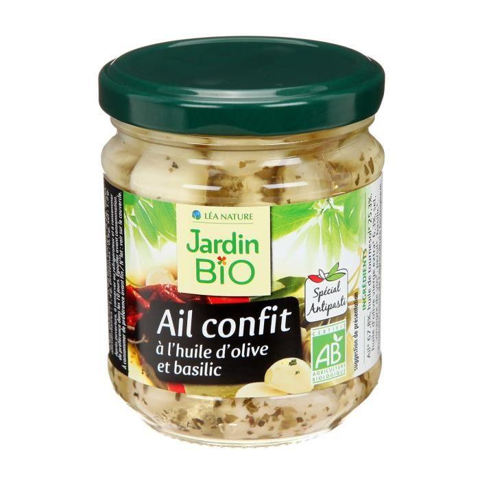 JARDIN BIO Ail confit à l'huile d'olive et basilic bio - 190 g