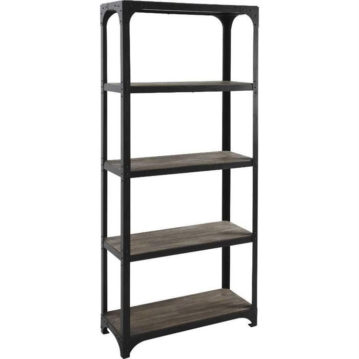 etagere bibliotheque en bois et metal achat vente meuble tag re etagere bibliotheque bois. Black Bedroom Furniture Sets. Home Design Ideas
