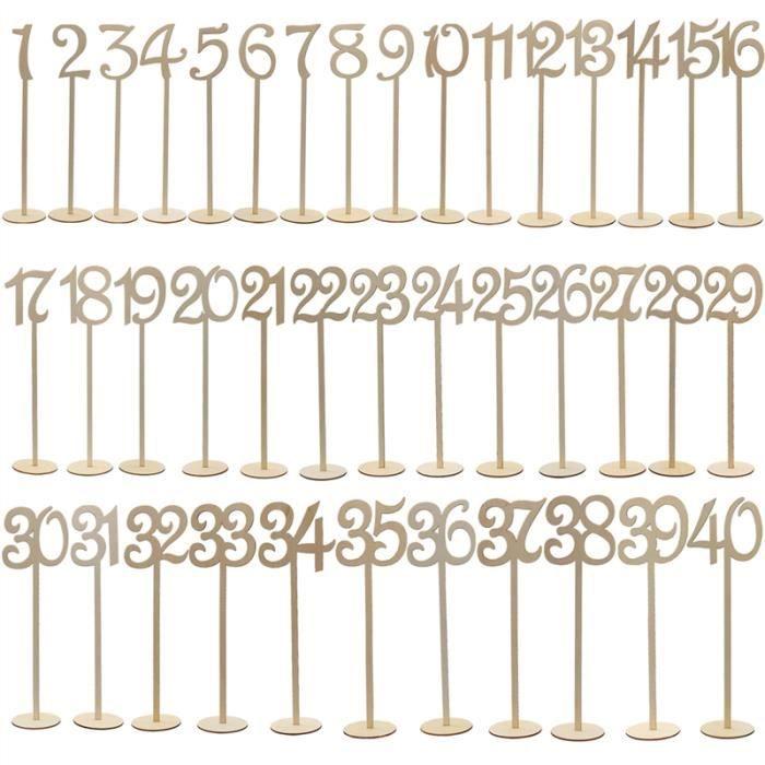 TIGE BOIS - BAMBOU 40pcs 1-40 numéros de table en bois avec support p