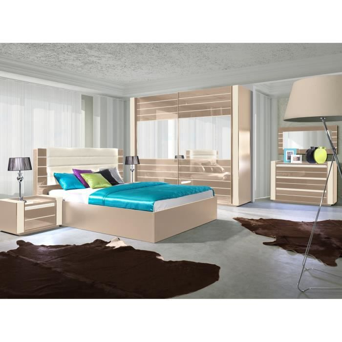 chambre coucher compl te lina cappuccino et blanc cr me. Black Bedroom Furniture Sets. Home Design Ideas