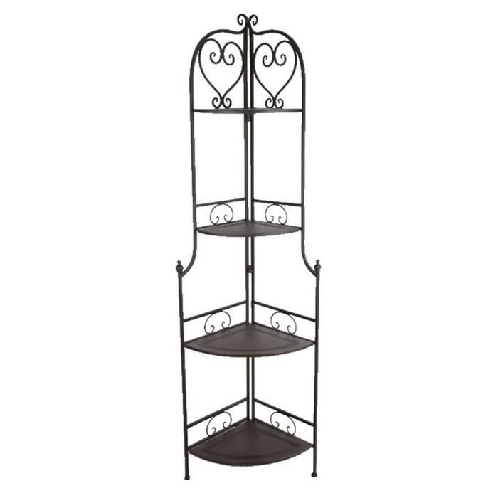 Etagere d 39 angle tablette fer forge charme achat vente for Meuble d angle fer forge