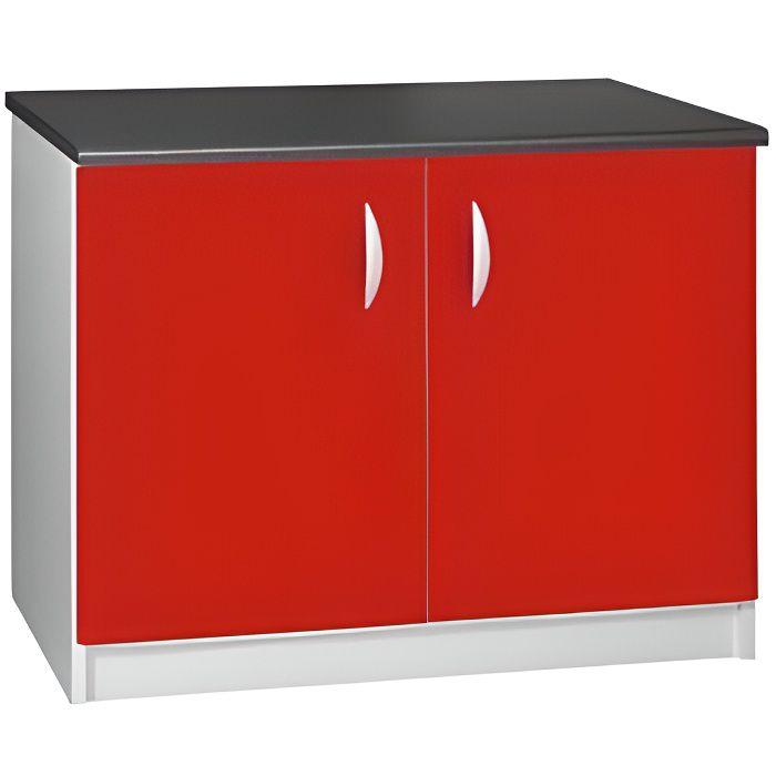 ELEMENTS BAS Meuble cuisine bas 120 cm 2 portes OXANE rouge