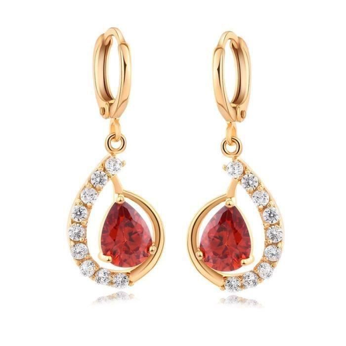 Fleurs Ruby /& White Topaz Gemstone 18K Jaune Plaqué Or Goutte Dangle Boucles d/'oreilles