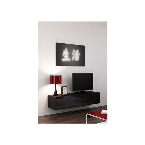 meuble tv design suspendu vito 140cm noir achat vente meuble tv meuble tv design suspendu v. Black Bedroom Furniture Sets. Home Design Ideas