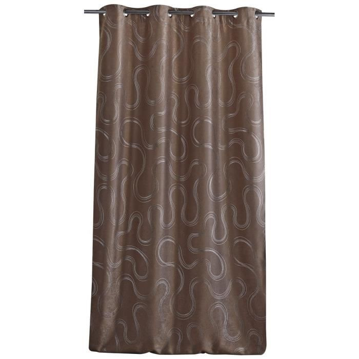 double rideau occultant motif sinueux 140x260cm taupe achat vente rideau 100 polyester. Black Bedroom Furniture Sets. Home Design Ideas