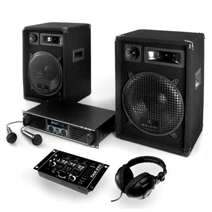 pack dj 1200w 2 enceintes table mixage et ampli pack. Black Bedroom Furniture Sets. Home Design Ideas