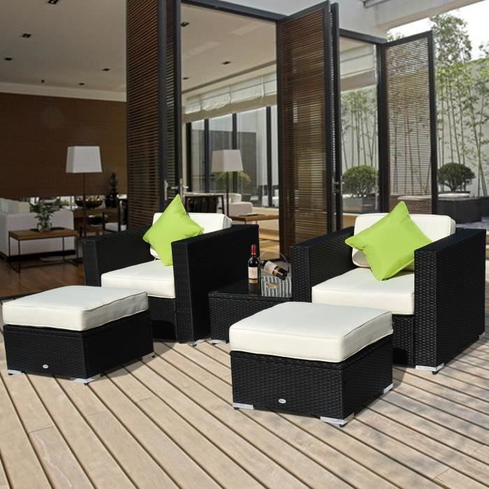 Salon de jardin canap convertible r sine tress p achat vente salon de jardin salon de for Canape de salon de jardin