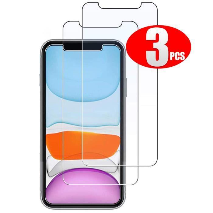 FILM PROTECT. TÉLÉPHONE MOPISS Pack 3 Verre Trempé iPhone XR,iPhone 11, Fi