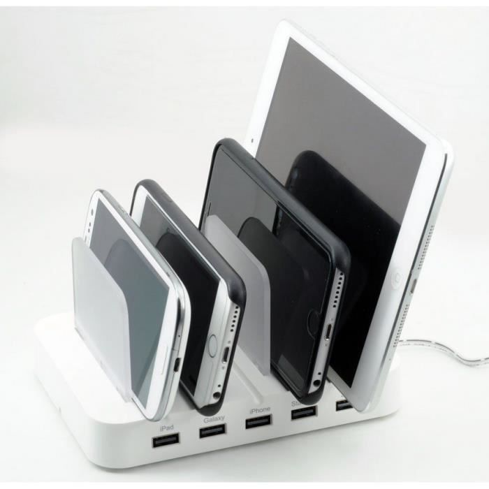 5 ports usb chargeur station usb station de recharge multi usage pour smartphone iphone ipad. Black Bedroom Furniture Sets. Home Design Ideas