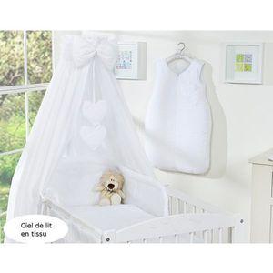 CIEL DE LIT BÉBÉ Ciel de lit bébé en tissu – blanc à coeurs