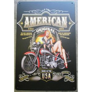 OBJET DÉCORATION MURALE plaque pin up moto american since 1903 tole deco g