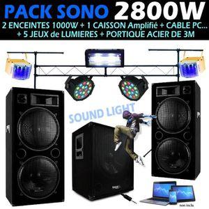PACK SONO PACK DJ SONO 2800W + ENCEINTES + CAISSON + 5 JEUX