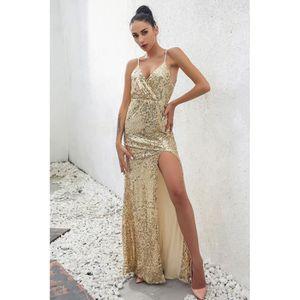 ROBE Robe de Soirée sexy paillettes maxi long sans manc