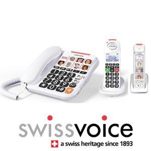 Téléphone fixe Téléphone fixe filaire Swissoice Xtra 3155 Blanc +