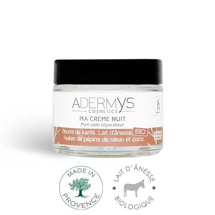 Crème de nuit Adermys -Mon Soin Réparateur- 40ml - Lait Ânesse Bio, Beurre Karité, Huiles Pépins Raisin et Coco