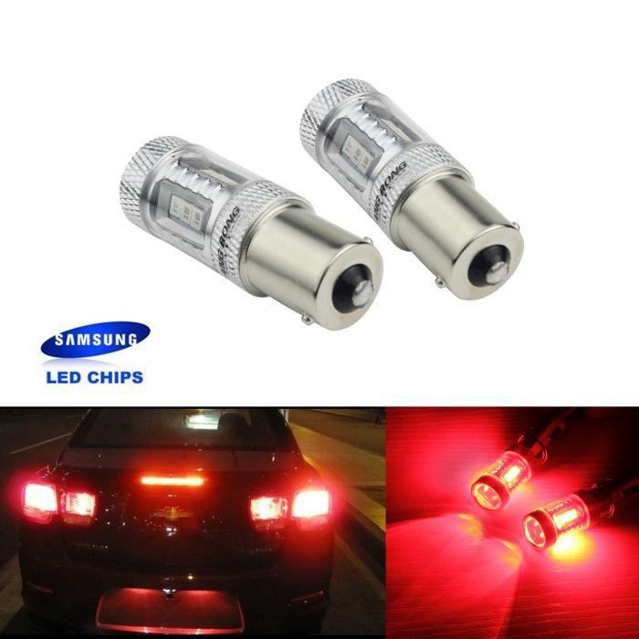 ANGRONG 2 Ampoule BA15s 1156 P21W LED Rouge 15W Feux Stop Veilleuse Pour Peugeot Renault