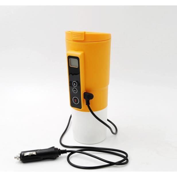 Bouilloire Electrique de Voiture 12V 380ML avec Ecran Visuel et Température Contrôlable-Orange