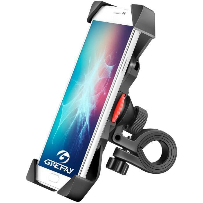 Grefay Support de Vélo Moto Téléphone Guidon de Vélo Moto Berceau Collier avec Rotation 360 pour 3,5 à 6,5 Pouces GPS pour Smartphon
