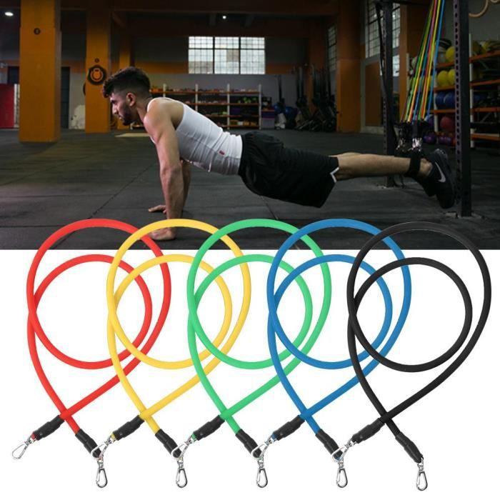 11 Pcs Élastique de Résistance Fitness Tirant Corde Gym Latex Bandes avec Crochet En Alliage de Zinc-YIN