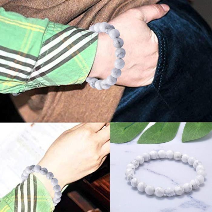 BRACELET - GOURMETTE - JONC Bracelet perlé 8mm de haute qualité en pierre blanche naturelle pour hommes et femmes