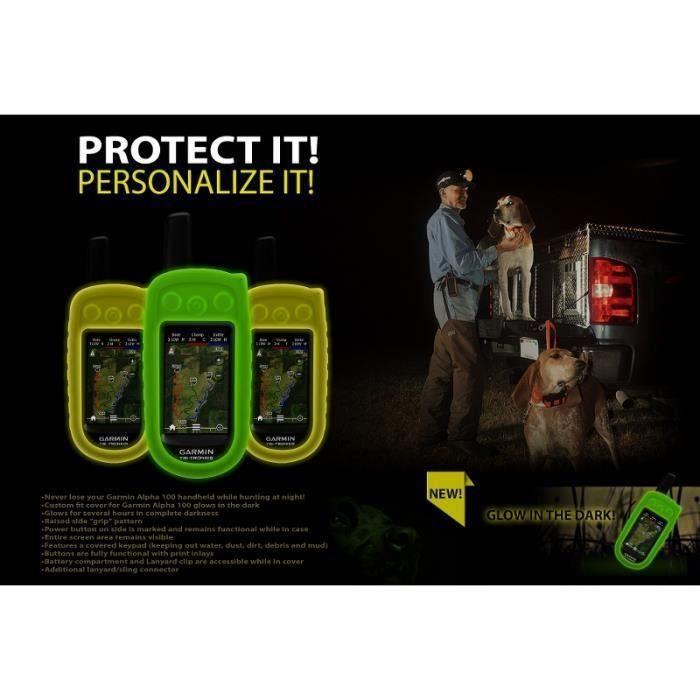 Coque en silicone pour GARMIN ALPHA 100 Fuorescent Vert