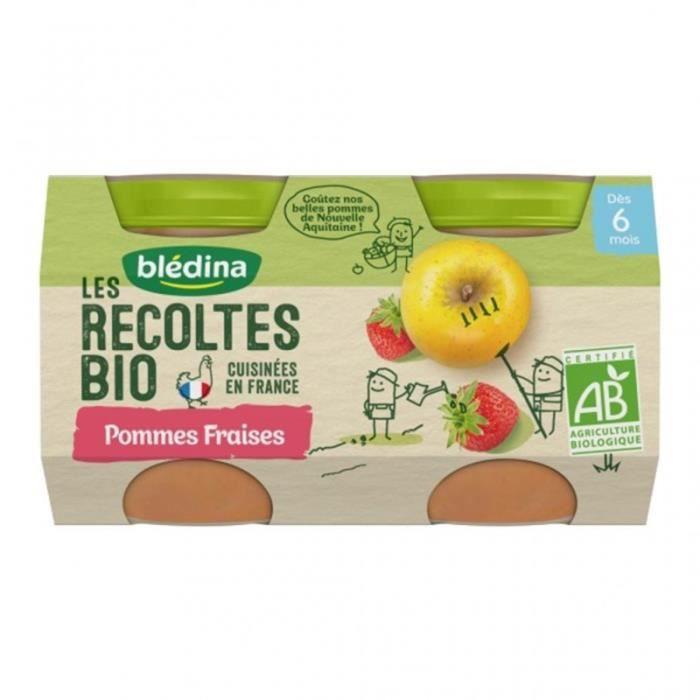 Blédina Les Récoltes Bio Pommes Fraises (dès 6 mois) par 2 pots de 130g (lot de 8)