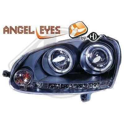 2214885 , Paire de Feux Phares Angel Eyes noir pour VW Golf 5 , Golf 5 Break , Golf 6 Break , Jetta 2 de 2003 a 2008