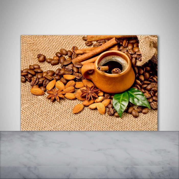 Tulup 100x70cm Crédence de cuisine sur verre sécurité:- Nourriture boissons - Grains De Café Une Tasse - Brun Mixte