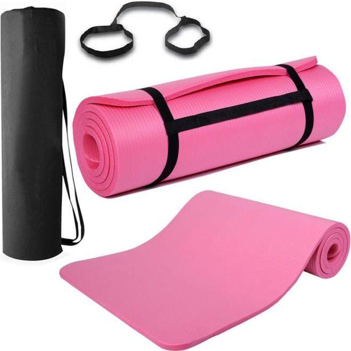 15mm Épais Tapis de yoga Pilates d'équipement de fitness d'exercice de gymnastique antidérapant - Carrier - (Rose)
