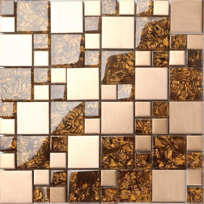 Carrelage mosaïque en verre et acier inoxydable. Or Motif rayures ondulées. (MT0087) - 30cm x 30cm sheet