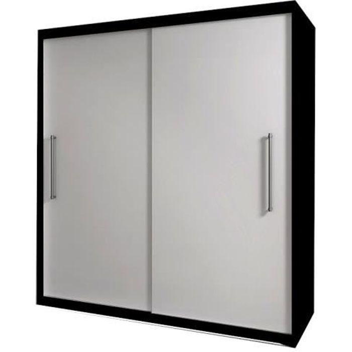 Armoire de chambre avec 2 portes coulissantes - tringle et étagères - Style contemporain - Noir+Blanc - L 204 cm -NICO