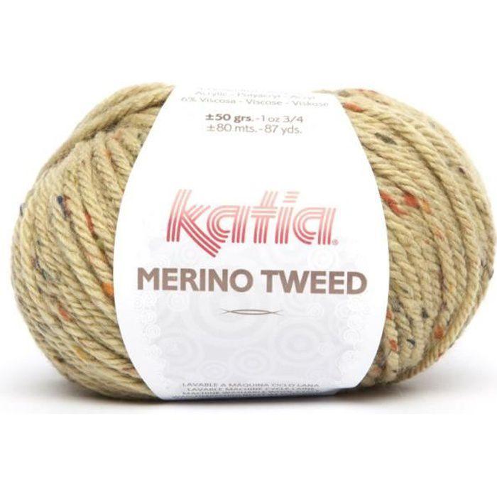 Laine MERINO TWEED Katia 410 Paille