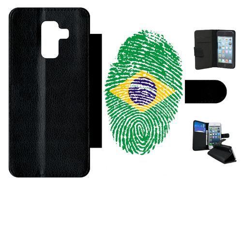 Etui a rabat - Simili-Cuir - Noir Samsung Galaxy A6+ (2018) 60 EMPREINTE DIGITALE DRAPEAU BRESIL BRAZIL