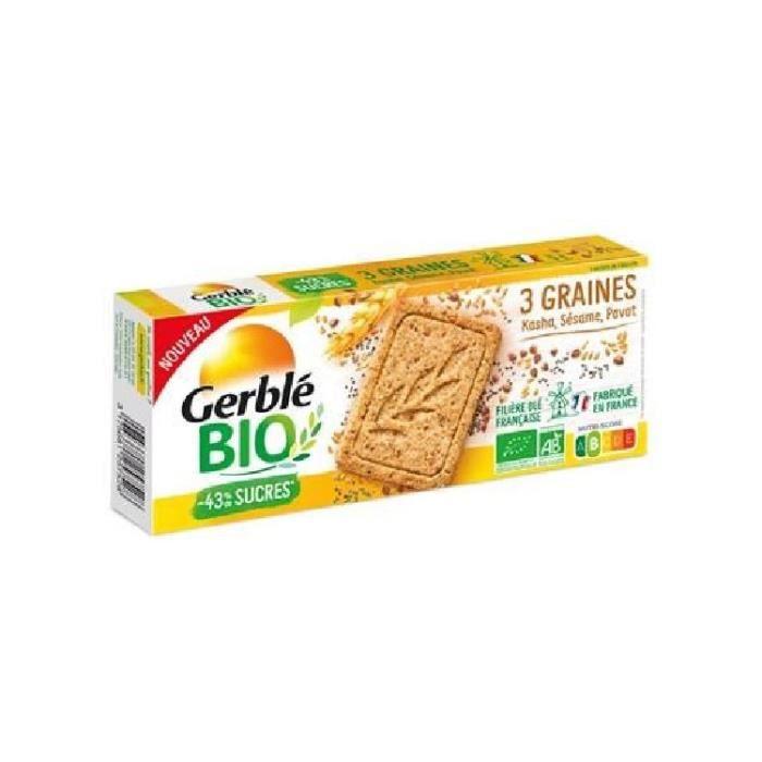 GERBLE Biscuits 3 graines Kasha, Sésame et Pavot - Bio