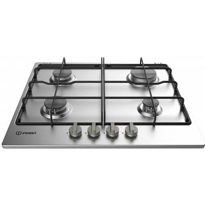 Indesit THP 642 IX-I, Intégré, Cuisinière à gaz, Noir, Acier inoxydable, 1000 W, Rond, 4,5 cm