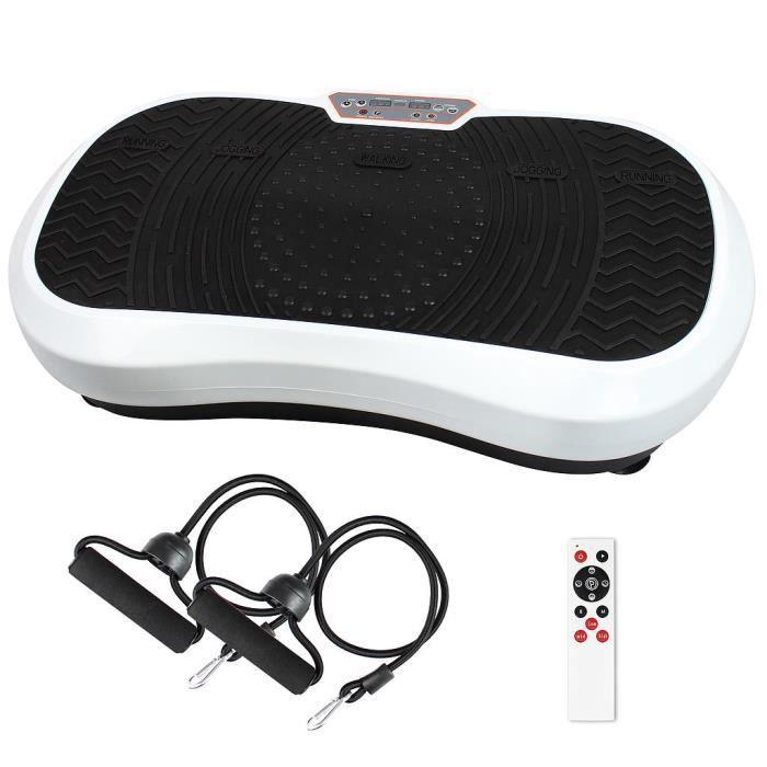 Plateforme Vibrante et Oscillante Machine avec Vibrations Blanc 180 niveaux Télécommande bandes de resistances 69x39x13 cm