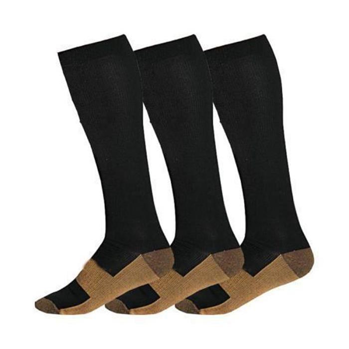 Hommes Femmes Sport Genou Haute Chaussettes Diplômé Bas Chaussettes Compression XXL Blanc