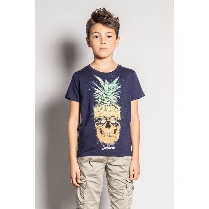 DEELUXE T-shirt photo tête de mort ananas EDDY Navy