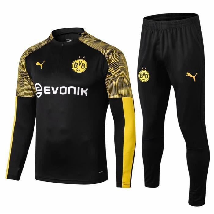 BVB Dortmund - 19-20 Maillot de Football Enfants Adultes Ensemble Survêtements D'entraînement de Football(Haut + Pantalon)